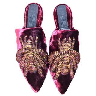 Sanayi 313 embroidered velvet mules
