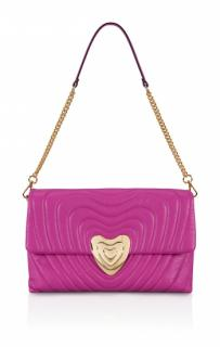 Escada fuchsia heart-plaque quilted-leather bag