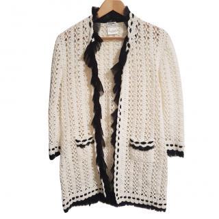 Chanel contrast-trim crochet cardigan
