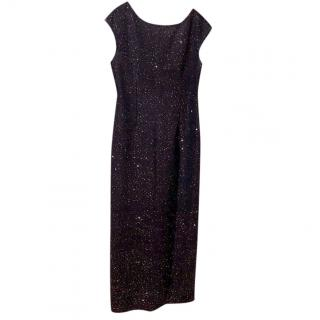 St. John Navy Sequin Gown