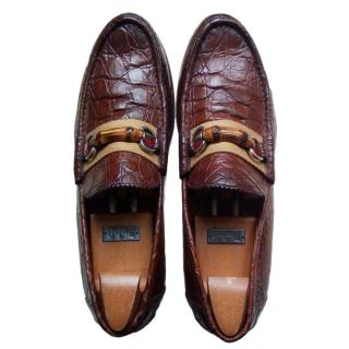 Gucci bamboo-strap alligator loafers