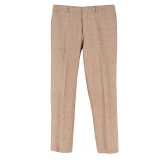 Polo by Ralph Lauren Beige Checked Wool-blend Trousers