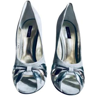 Dolce & Gabbana grey suede peep-toe heels