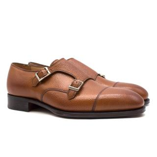 Hardy Amies Brown Grained Leather Monk Shoes