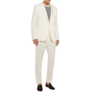 Officine Generale Ecru Cotton & Linen-blend Tuxedo Blazer
