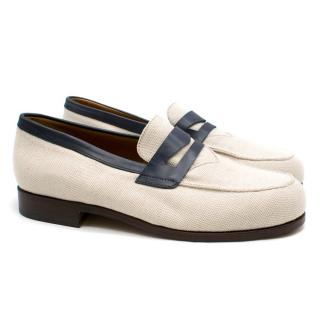 Maison Kitsune Navy Leather & Canvas Loafers