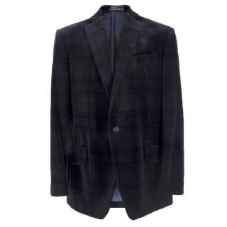 Richard James Navy Tartan Print Velvet Blazer