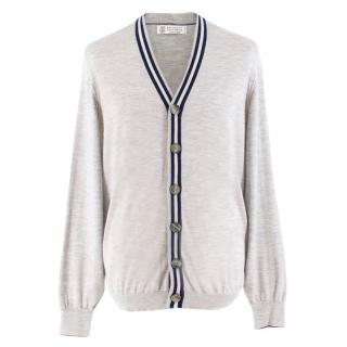 Brunello Cucinelli Grey Striped Silk & Cashmere Cardigan