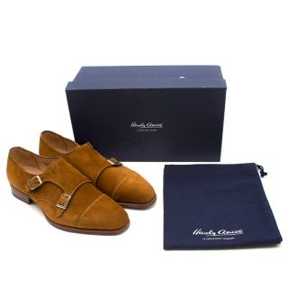 Hardy Amies Tobacco Suede Double Monk Shoes