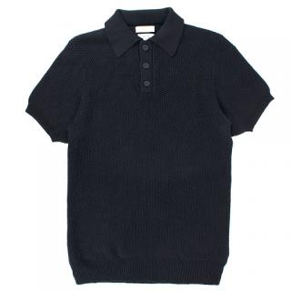 Richard James Navy Blue Knit Polo Top
