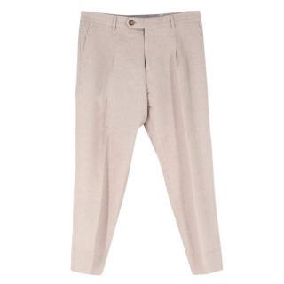 Brunello Cucinelli Beige Wool Blend Tailored Trousers