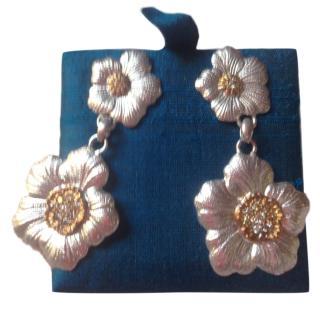 Lucrezia Buccellati  Gardenia Flower Brown Diamond Earrings
