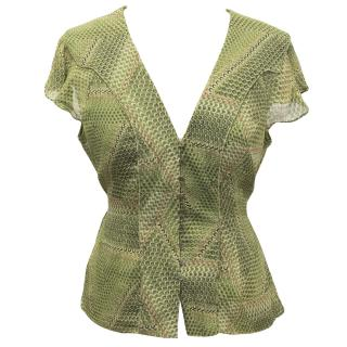 Anna Klein green patterned blouse