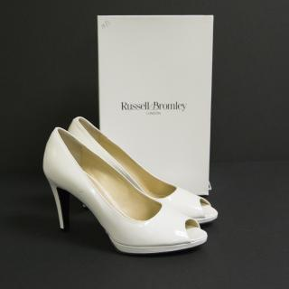 Russell and Bromley white patent lou lou heels