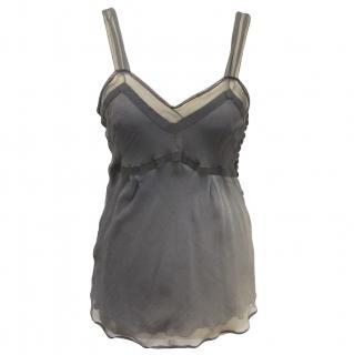 John Galliano grey silk top