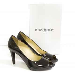Russell and Bromley black patent lou lou heels