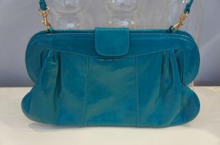 Angel Jackson turquoise green leather clutch handbag