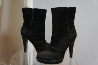 UGG Australia Bianka black suede skeepskin lined high heel platform ankle boots