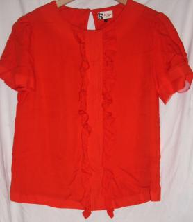 Boutique By Jaeger - Red Silk Blouse with Frill Front