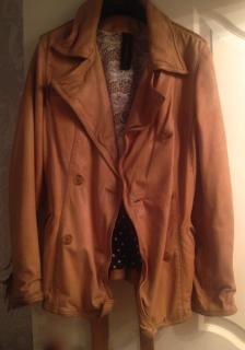 Marc Cain Tan Leather Jacket Vintage Washed size 2 uk 10