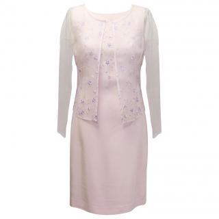 New Escada pink organza dress suit
