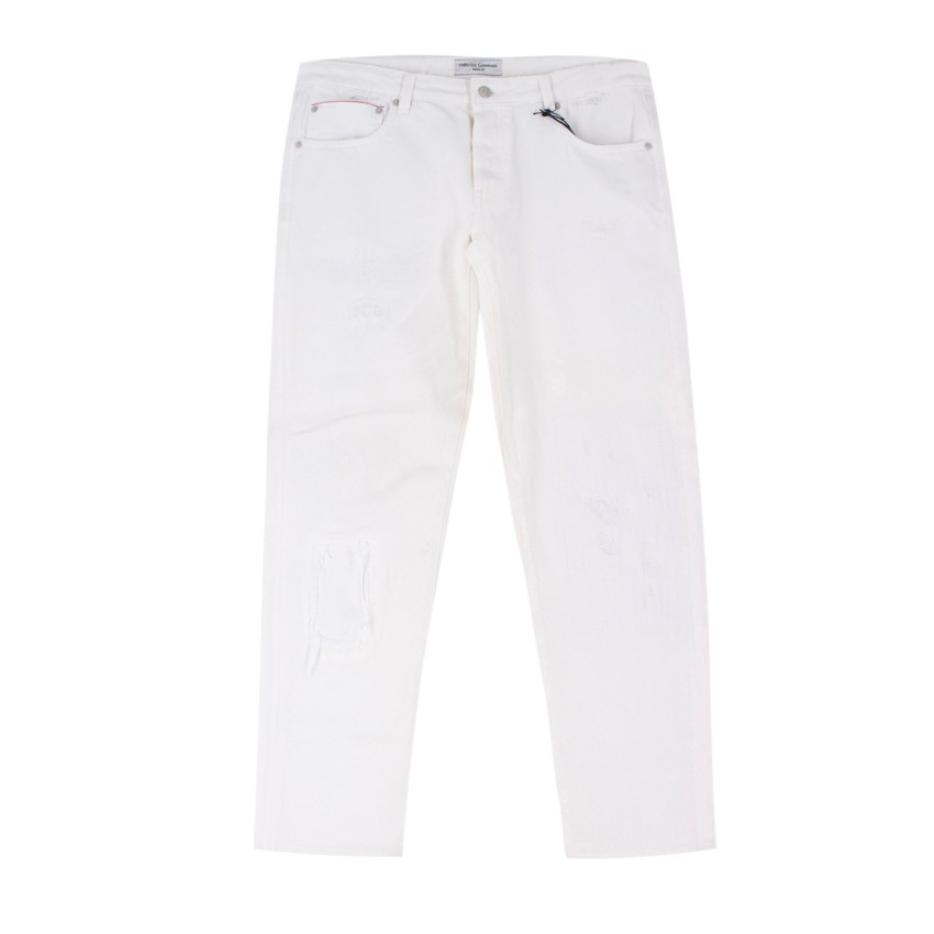 Officine Generale White Distressed Japanese Denim Jeans