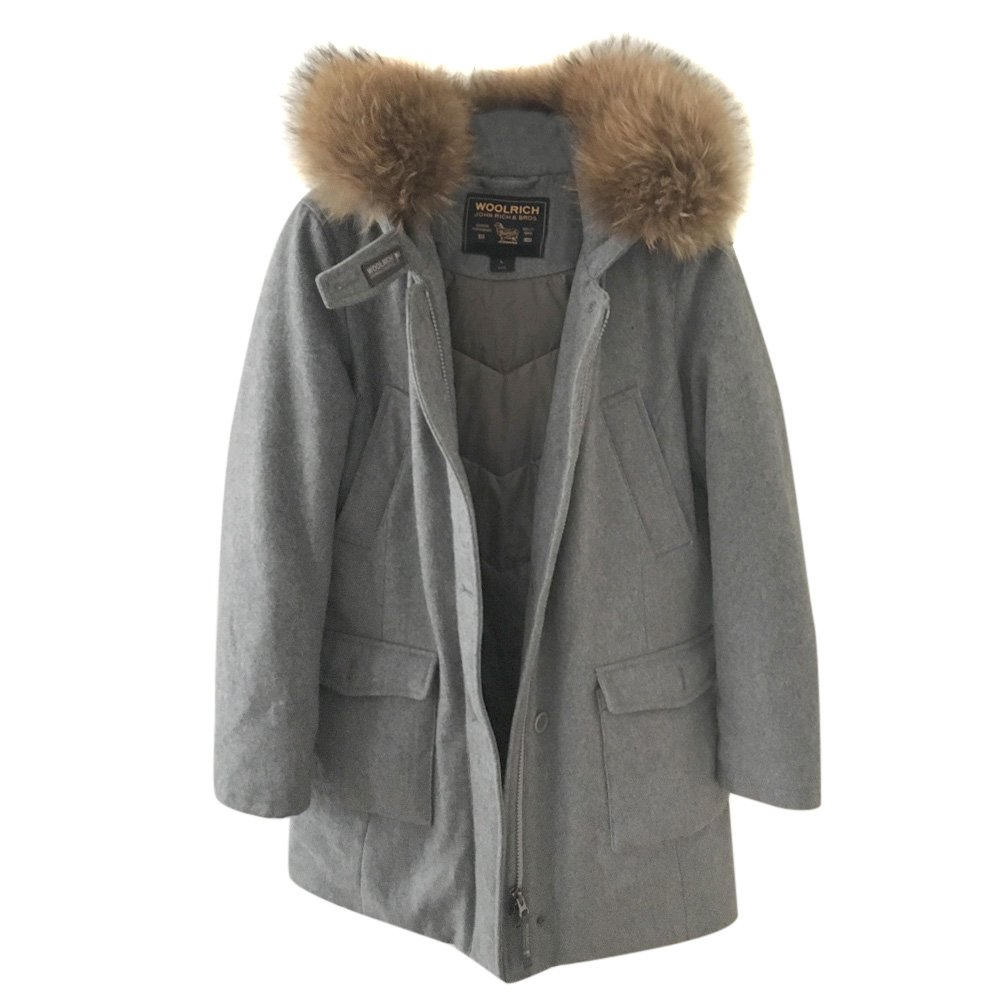 Woolrich gray wool fur collared coat