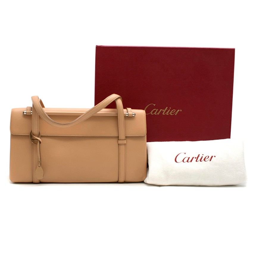 Cartier Beige Cabochon Leather Flap Shoulder Bag