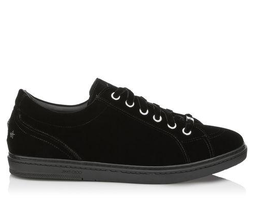 Jimmy Choo Cash Black Velvet Low Top Sneakers w/Studded Stars
