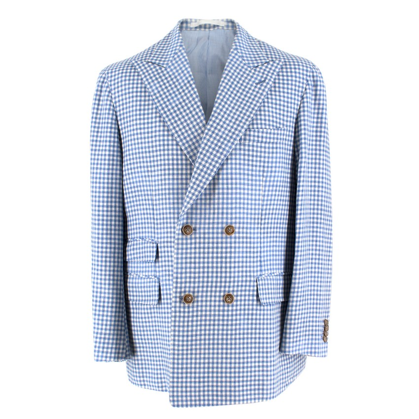 Zerbino Blue & White Gingham Check Blazer