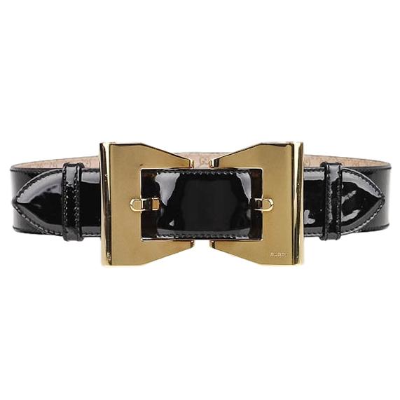 Gucci Black Patent Leather Queen Belt