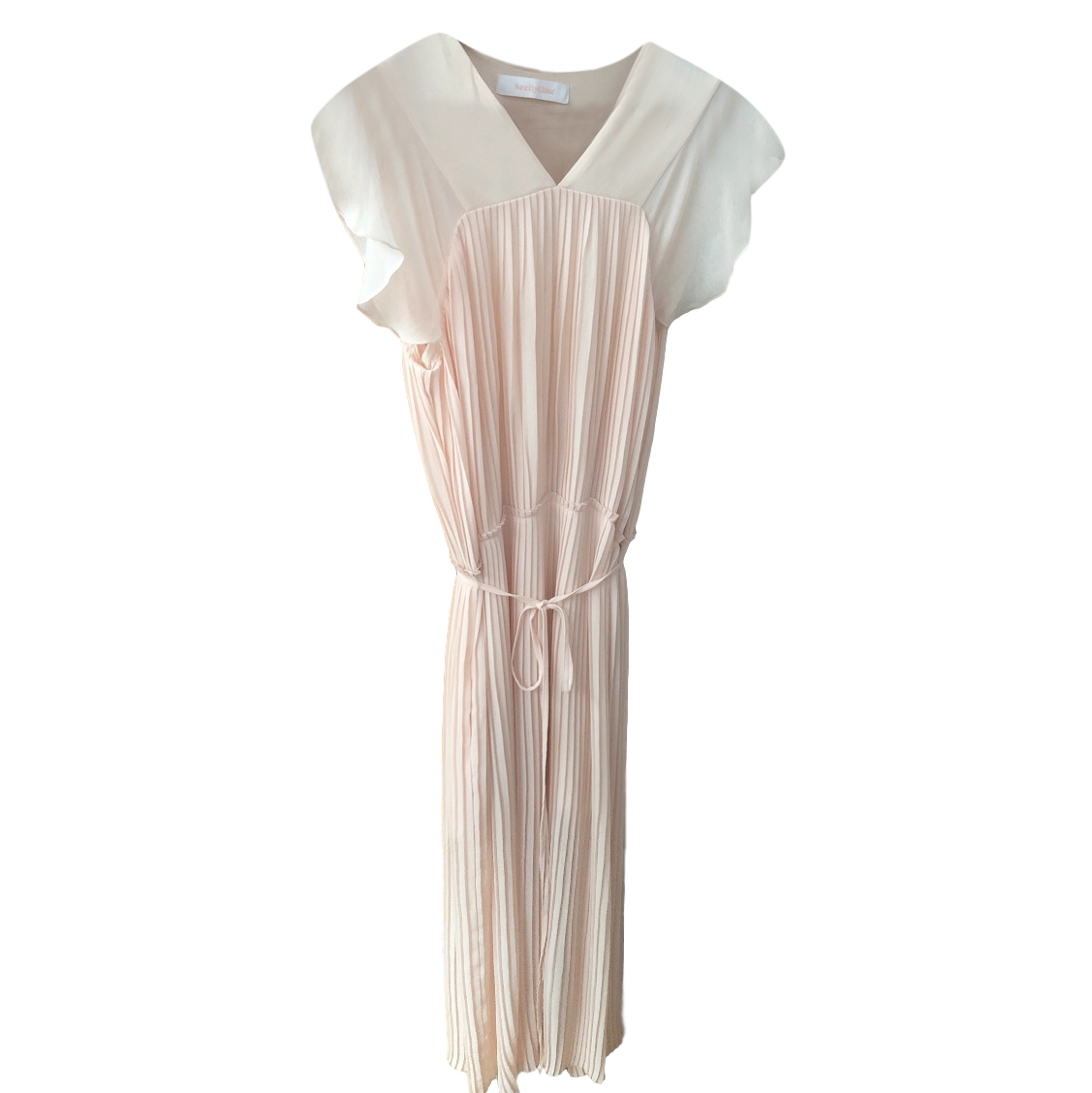 See by Chloe pleated-chiffon pink dress