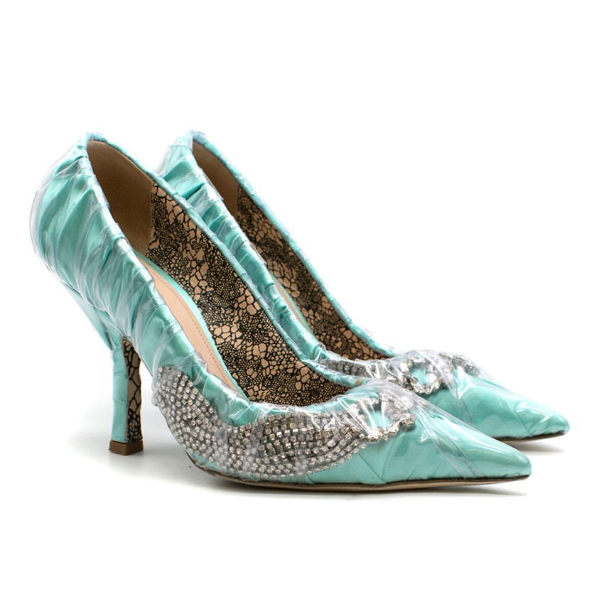 Paciotti By Midnight Crystal-embellished Ruched Satin & PVC Pump