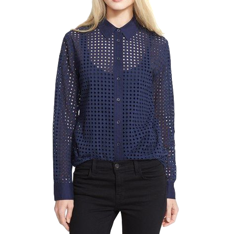 Equipment Brett Oversized Eyelet Blouse