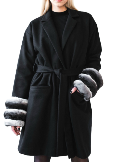 FurbySD Wool & Chinchilla Fur Wrap Coat