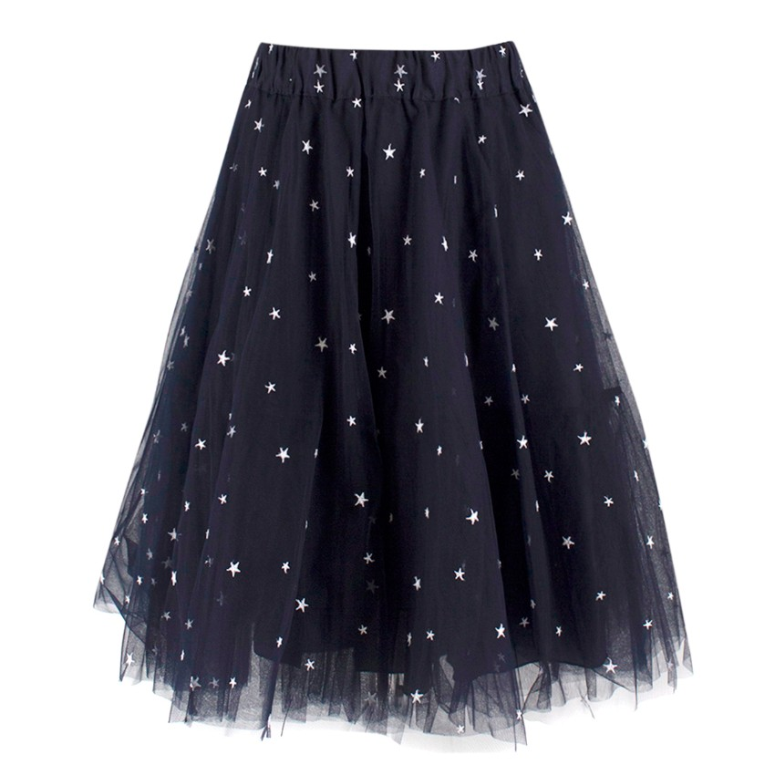 P.A.R.O.S.H. Black Star Patterned Tulle Skirt