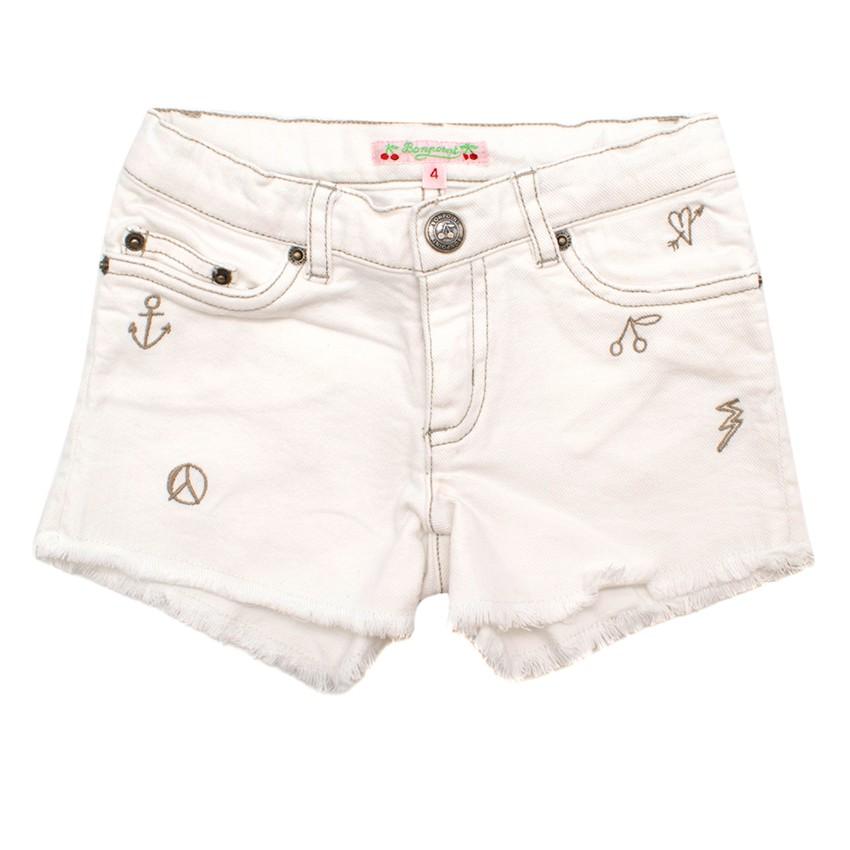 Bonpoint Girls 4Y White Denim Shorts