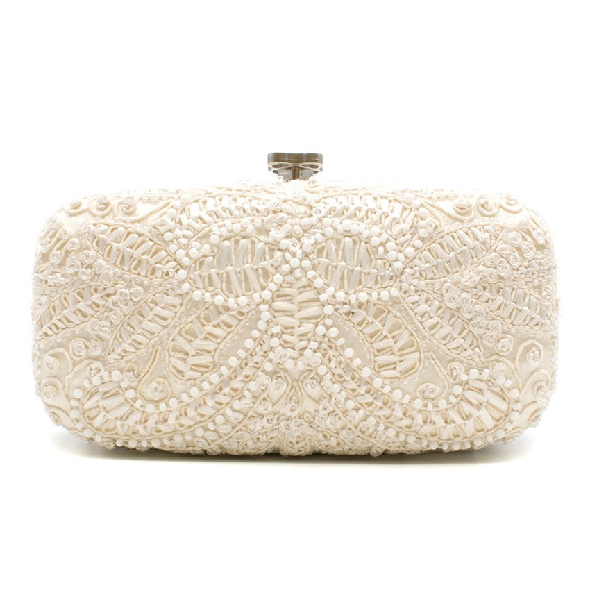 Oscar De La Renta Cream Lace Embellished Clutch Bag