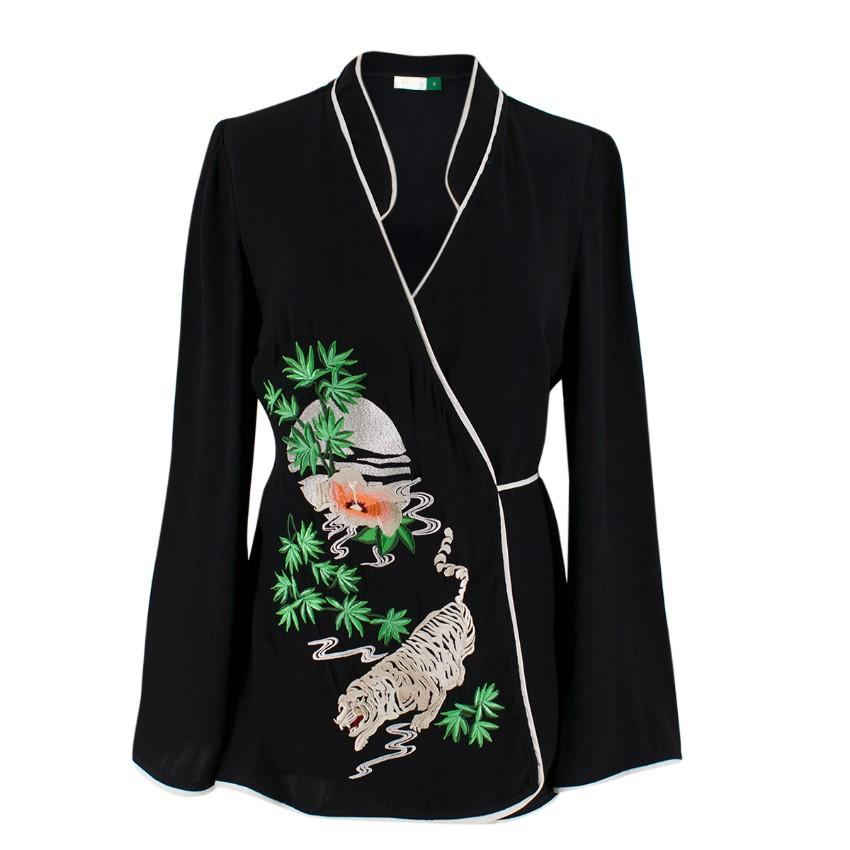Rixo Black Blossom Embroidered Wrap Top