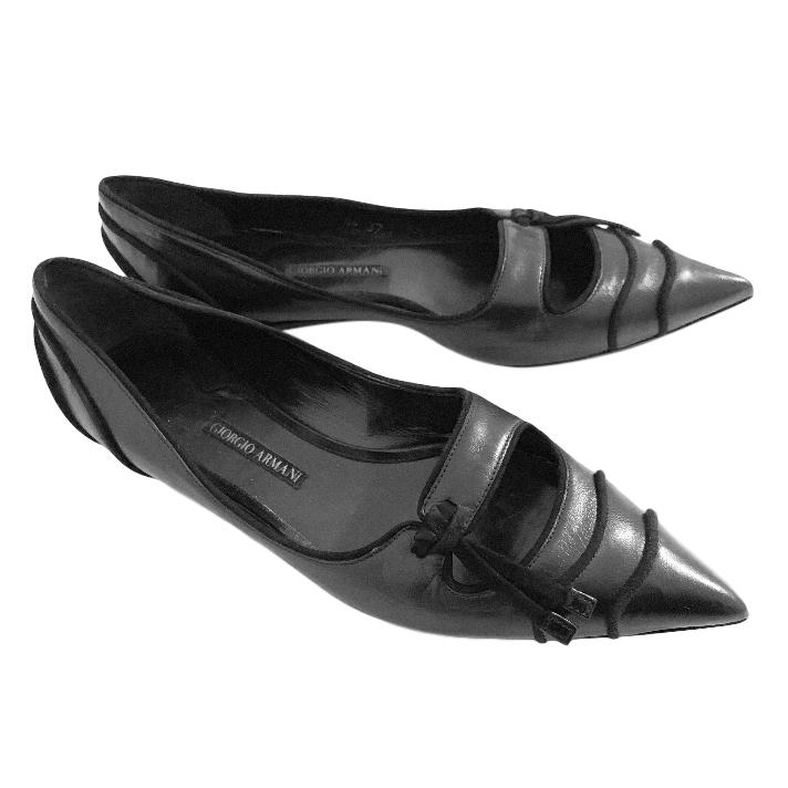 Giorgio Armani black point-toe flats
