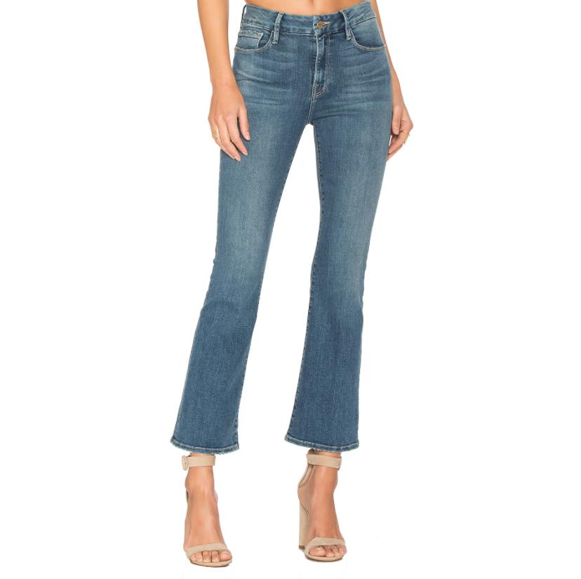 Frame Denim 'Le Crop Mini Boot' Blue-washed Jeans