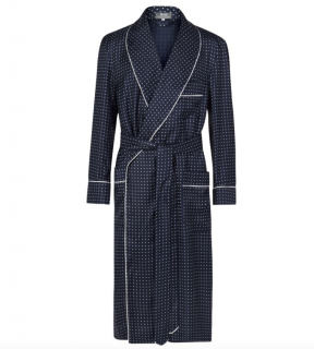 Budd Men's Navy Polka Dot Silk Twill Robe