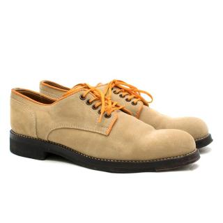 Padrone Beige Contrast Suede Derby Shoes
