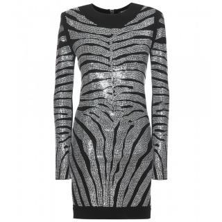 Balmain Embellished Jersey Dress in Metallic