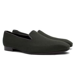 George Cleverley Hand Made Dark Green Felt Loafers