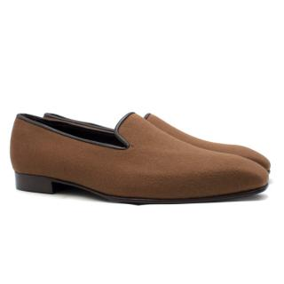 George Cleverley Hand Made  Brown Felt Loafers