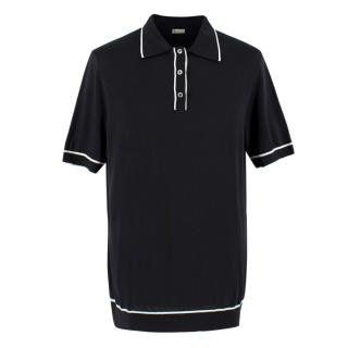 Connolly Black Silk Ribbed Knit Polo Top