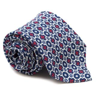 E. Marinella Geometric Floral Print Tie