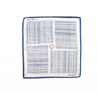 E. Marinella White & Navy Scribe Handkerchief