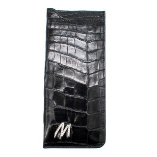 Bespoke Black Crocodile Leather & Diamond 'M' Sunglasses Case